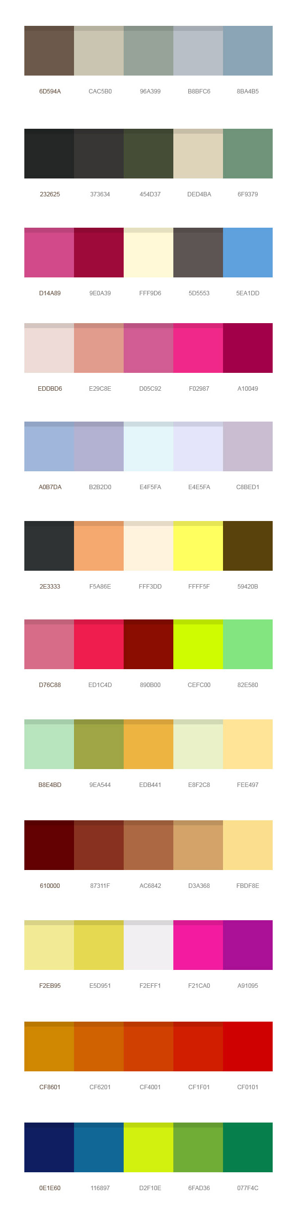 12 beautiful color palettes (PSD)