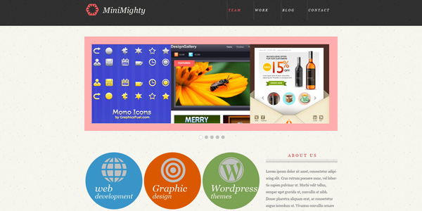 MiniMighty: Minimal website template (PSD)