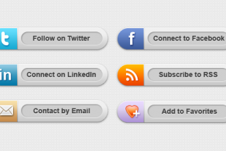 Classy social media buttons (PSD & PNG)