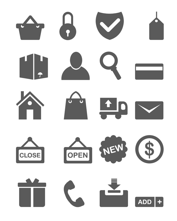 Psd Vector Eps Jpg Download: 20 Minimal Ecommerce Icons (vector PSD)