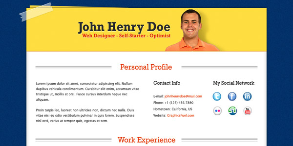 Professional resume / CV template (PSD)