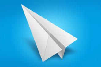 White paper airplane icon (PSD)