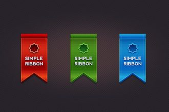 Beautiful ribbon in 3 colors (PSD)