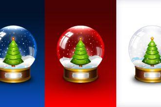 Christmas snow globe icon (PSD)
