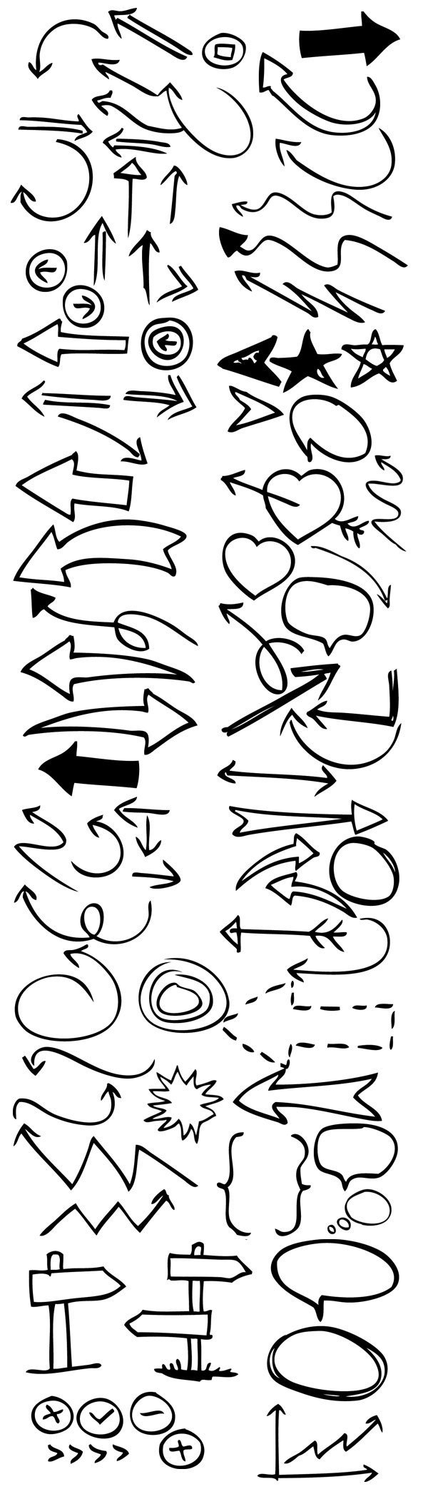 90 Hand Drawn Arrow And Symbol Photoshop Brushes Graphicsfuel