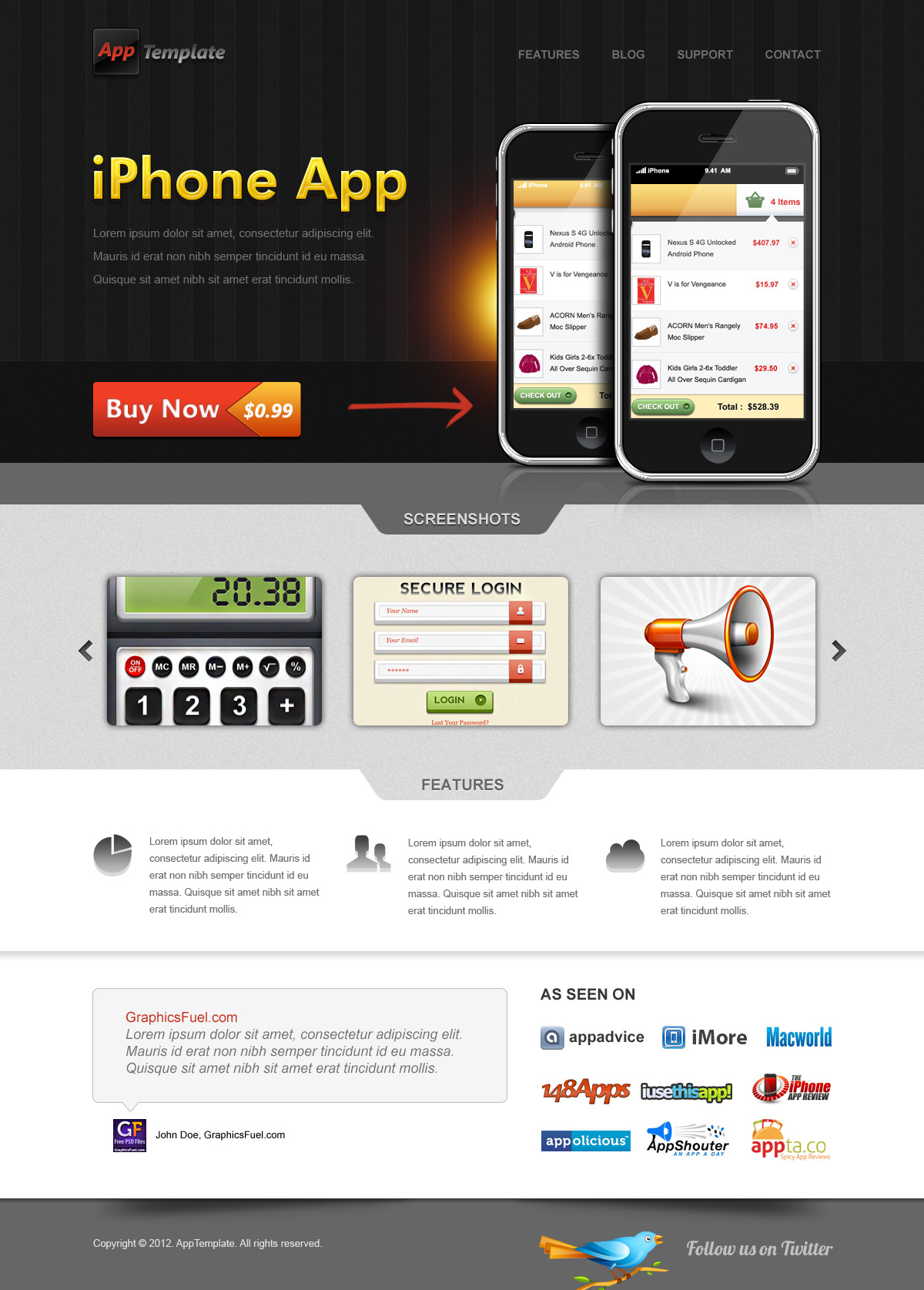 Iphone app website template psd graphicsfuel for Facebook app template psd