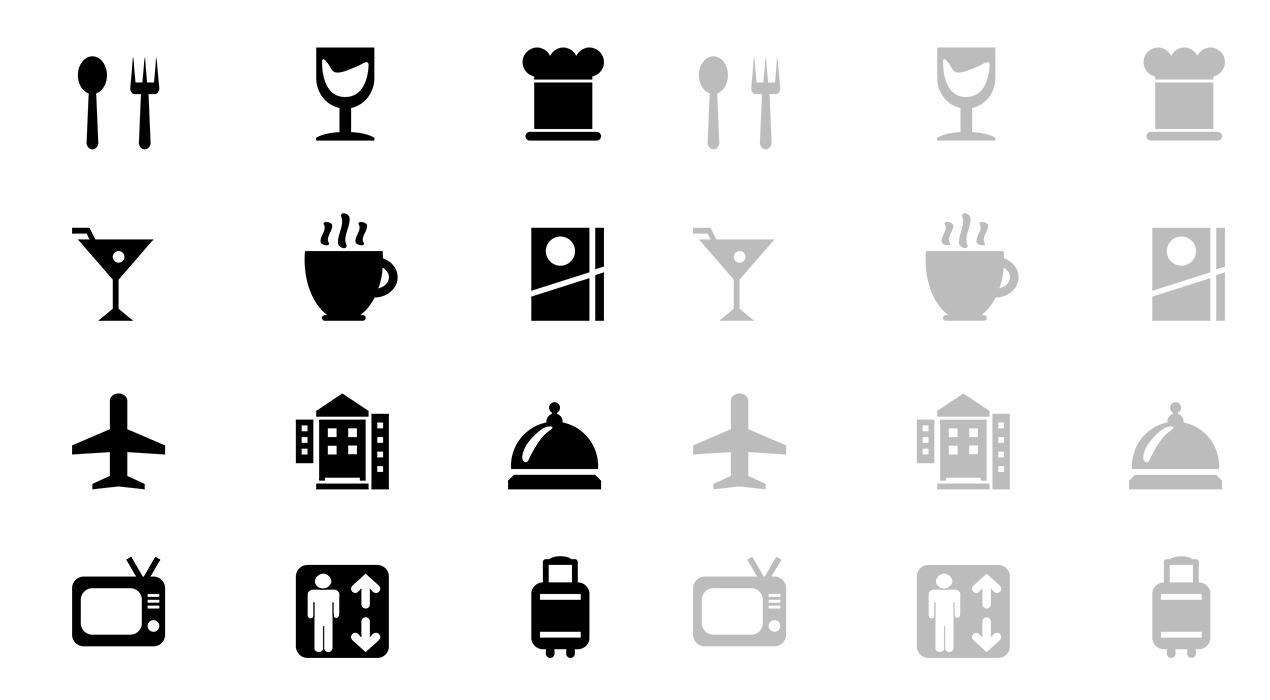 20 Hotel And Restaurant Glyph Icons (Vector PSD)