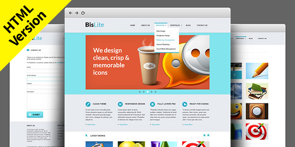 BisLite: Free HTML Website Templates   GraphicsFuel