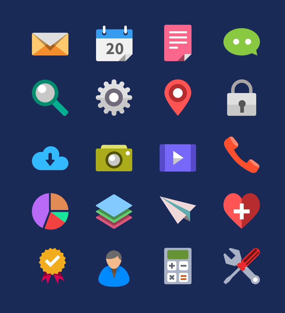 20 Flat Icons PSD GraphicsFuel