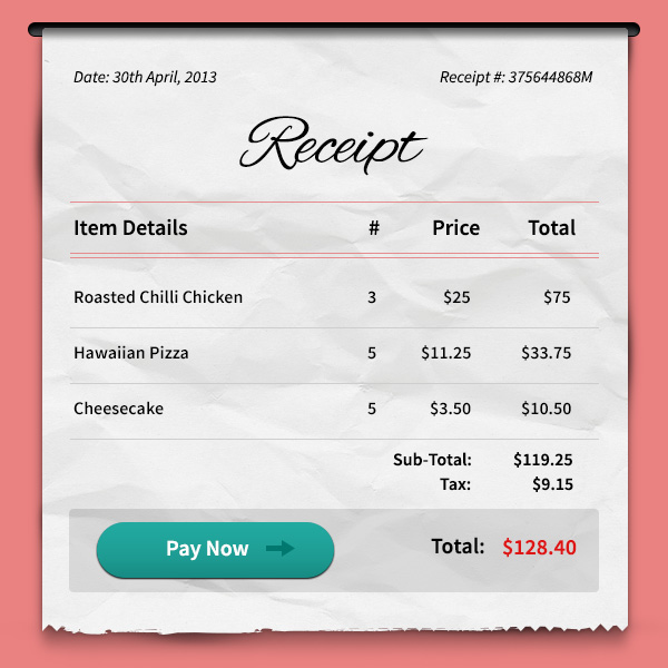Payment Receipt PSD GraphicsFuel – Payment Receipts
