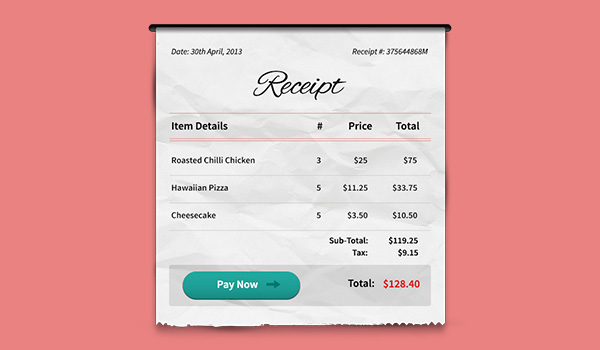 Payment Receipt Psd Graphicsfuel