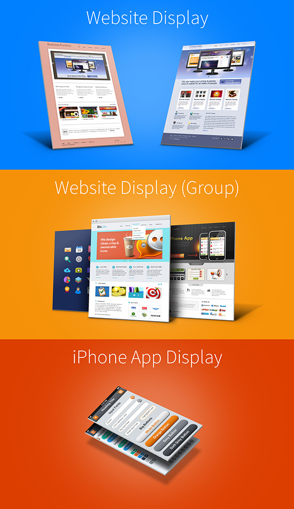 Website & iPhone 3D Display Mockups