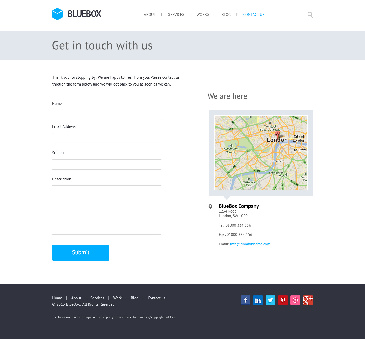 Bluebox flat website psd templates design graphicsfuel for Contact us php template