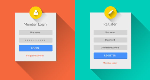 Flat Long Shadow Login & Register UI PSD