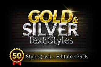 50 Gold & Silver Text Styles