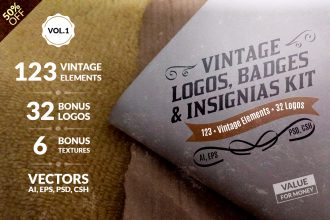 Vintage Logos, Badges, Insignias Kit – Vol.1