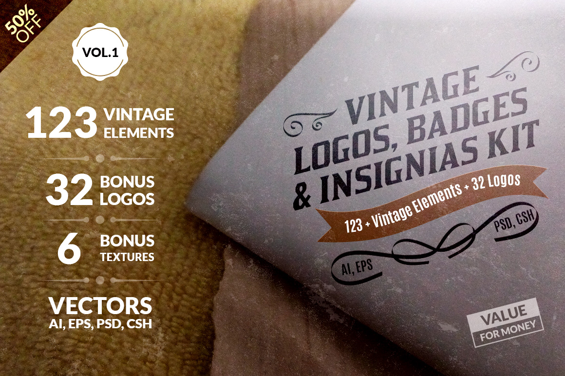 Vintage Logos, Badges, Insignias Kit – Vol.1