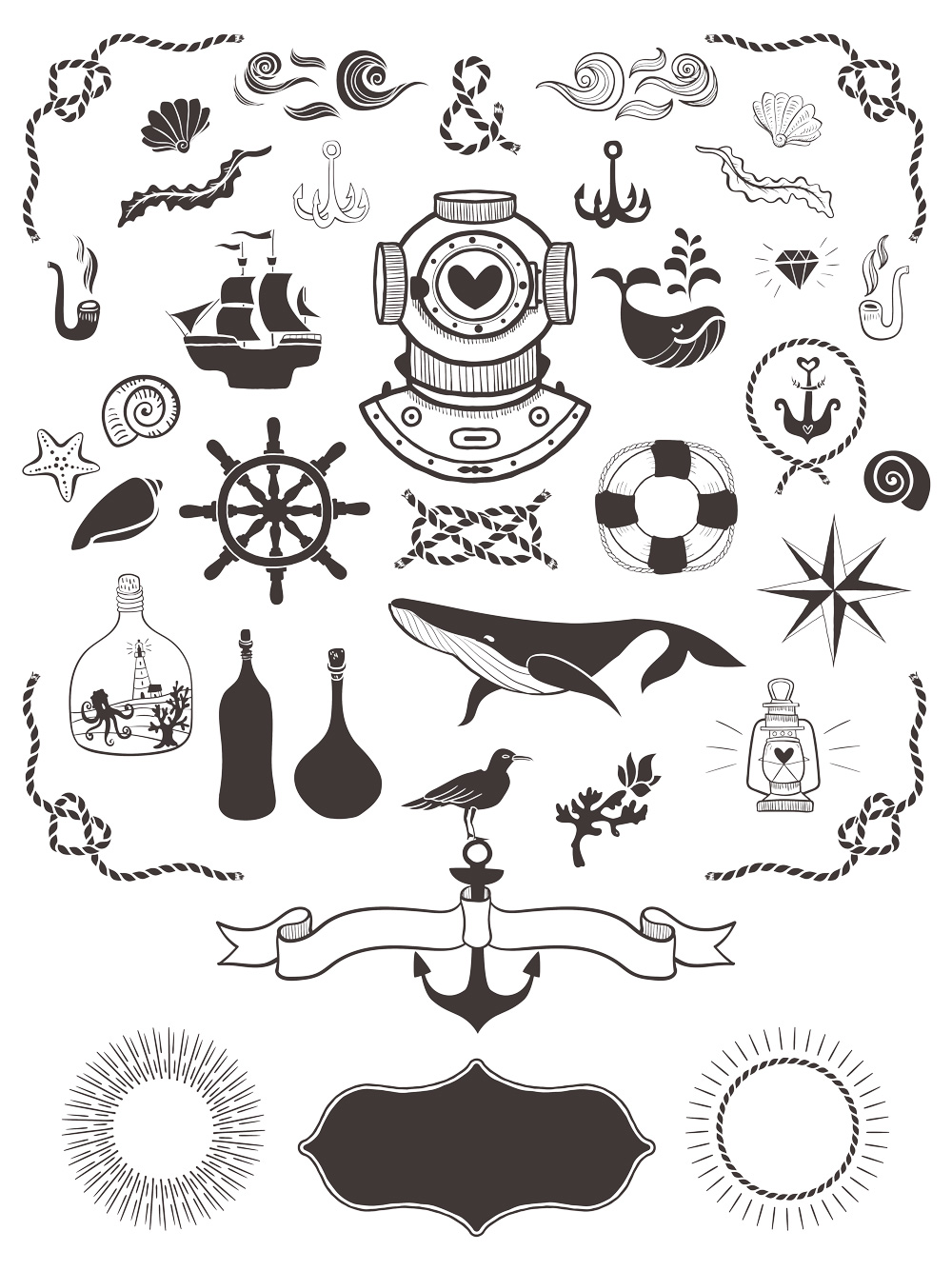 40 free nautical vector elements graphicsfuel. Black Bedroom Furniture Sets. Home Design Ideas