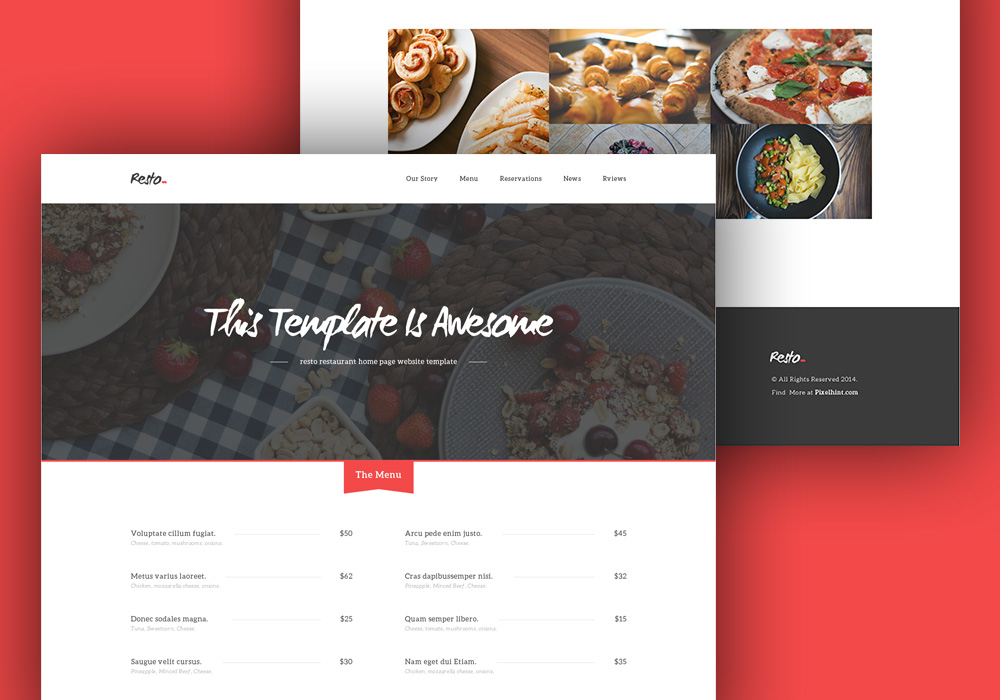 Free HTMLCSS Restaurant Home Page Template GraphicsFuel - Html restaurant menu template