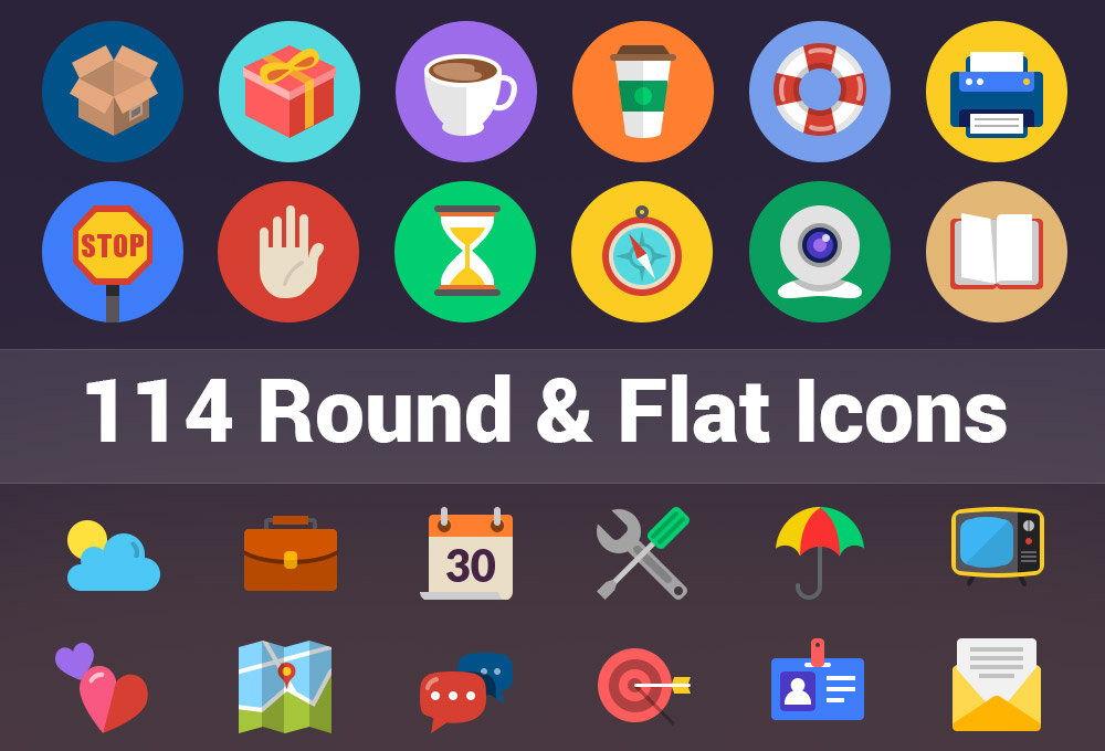 114 Round And Flat Icons Graphicsfuel