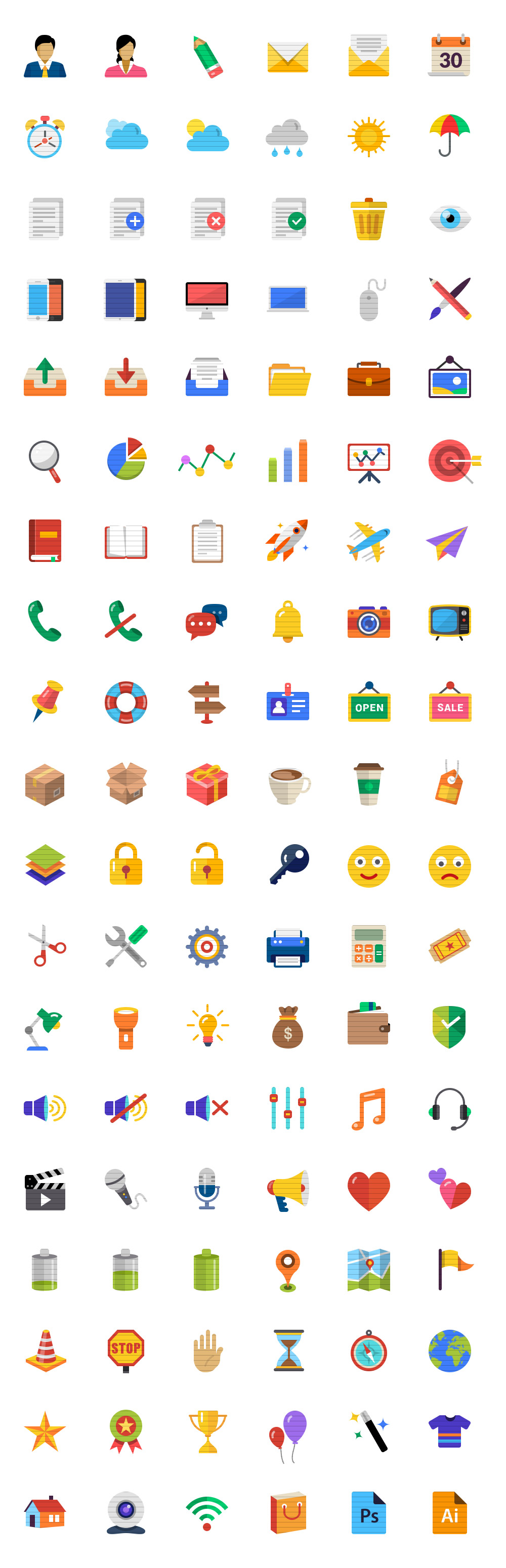 114 Flat Icons