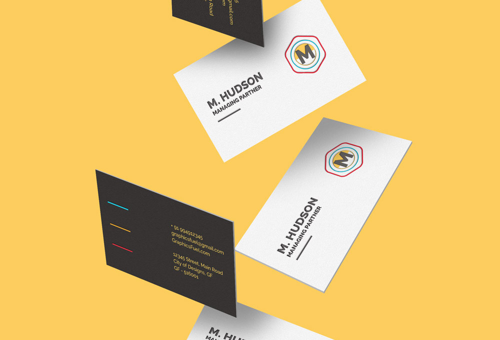 falling business card mockups featured