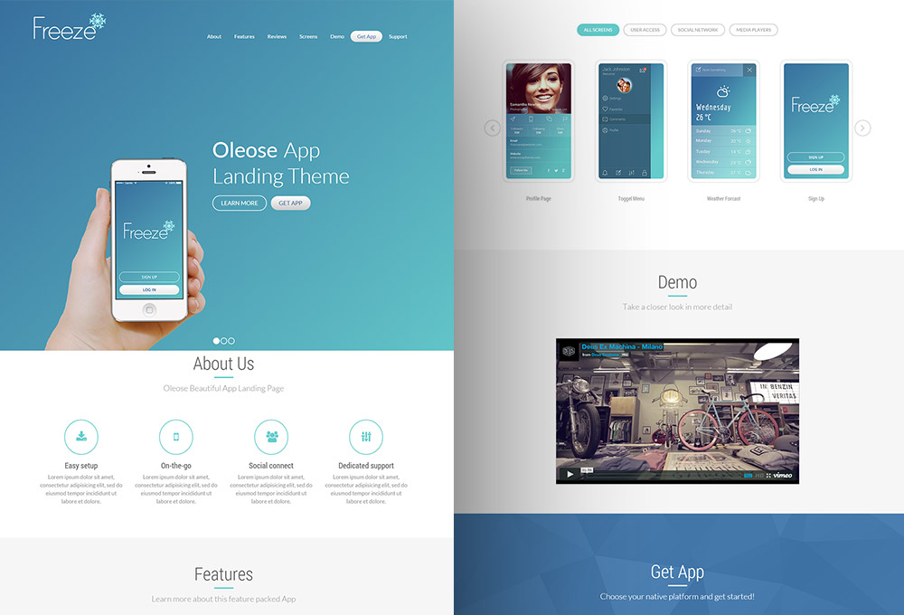 Oleose: Free App Bootstrap Landing Page