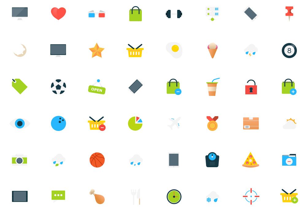 80 Free Flat Vector Icons