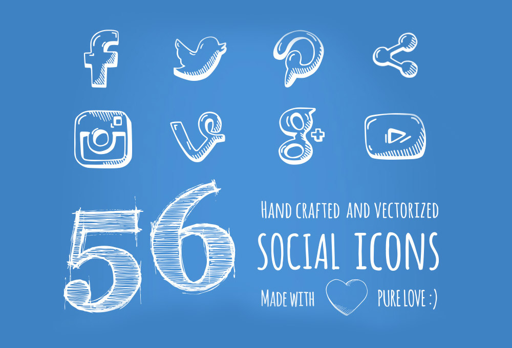 56 Free Hand-drawn Social Media Icons