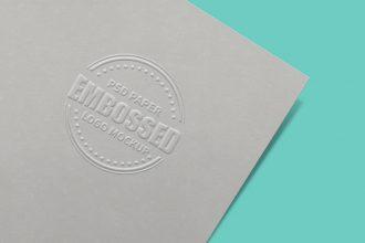 Embossed Paper Logo Mockup PSD