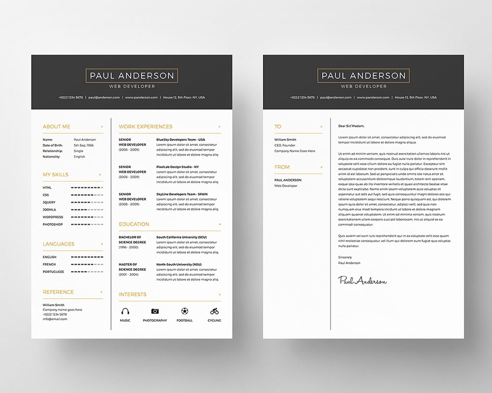 free resume psd template