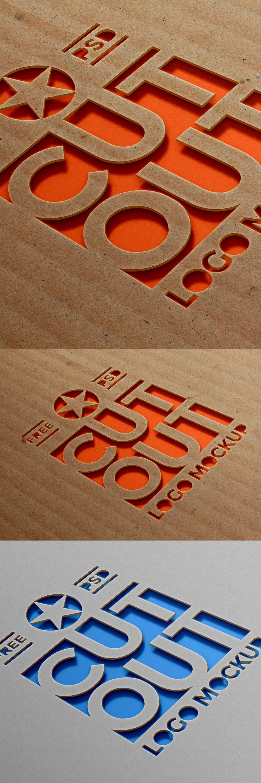 Free Cardboard Cutout Logo Mockup