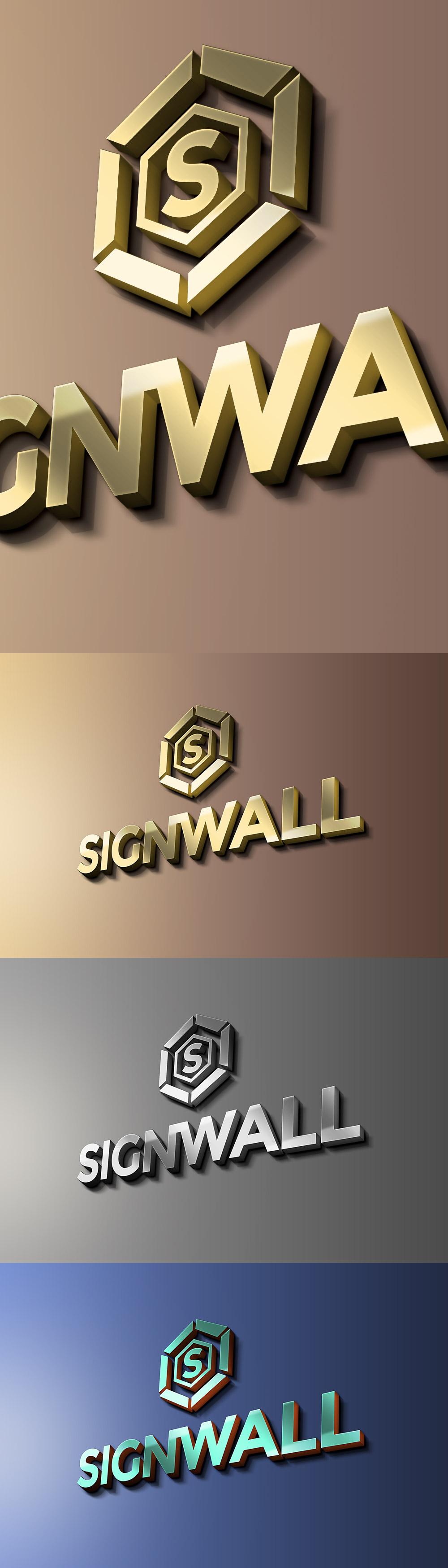 Sign Wall Logo Mockup