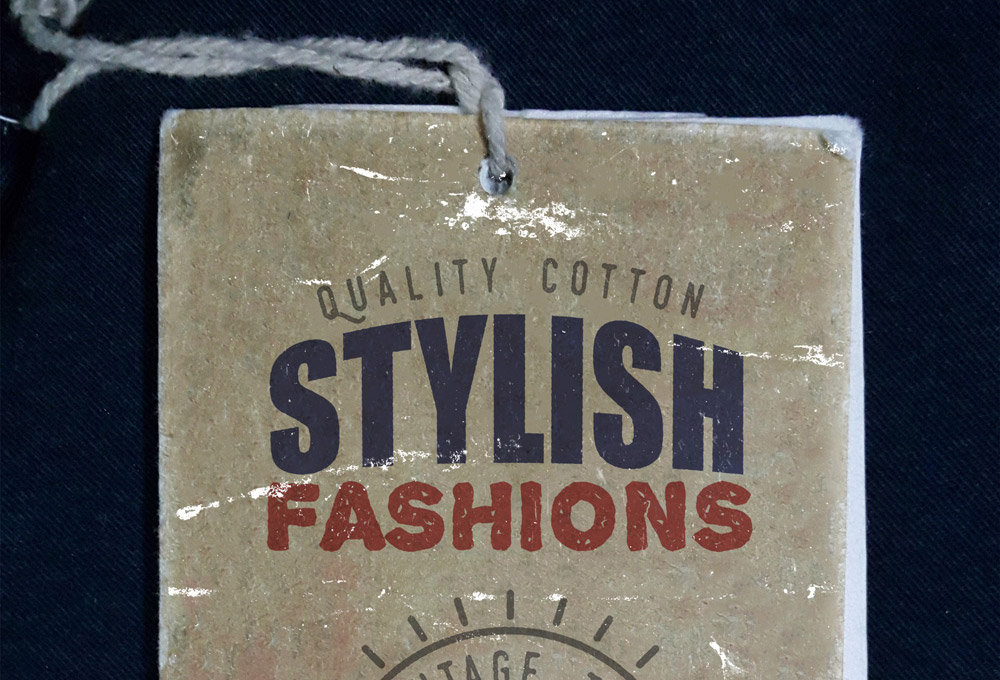 Vintage Clothing Label Mockup PSD
