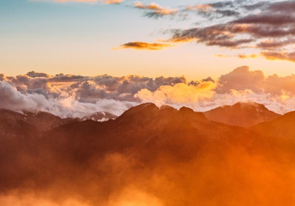 Orange Clouds Moutain Sunset