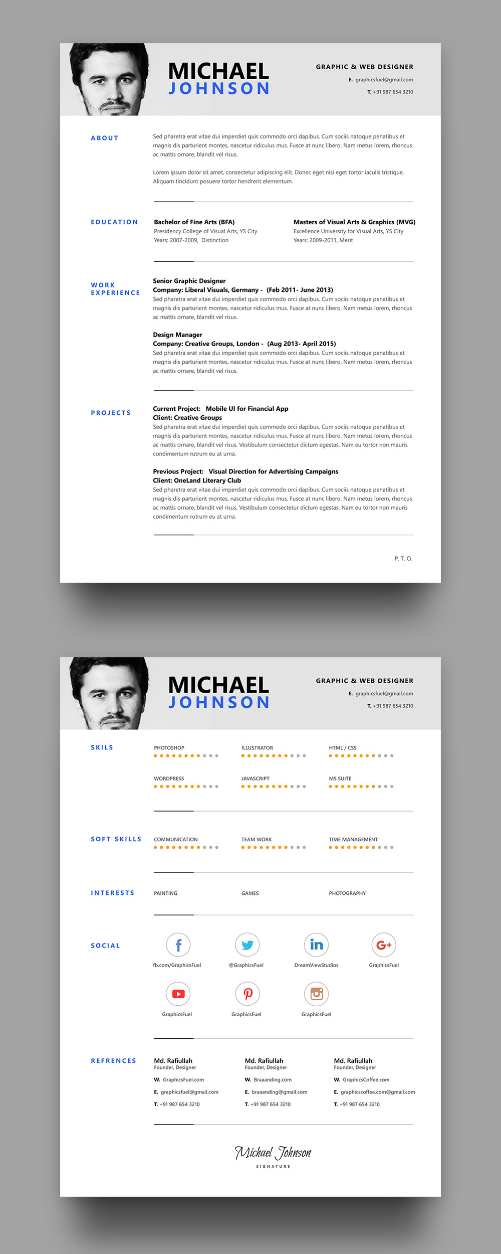 resume    cv psd template