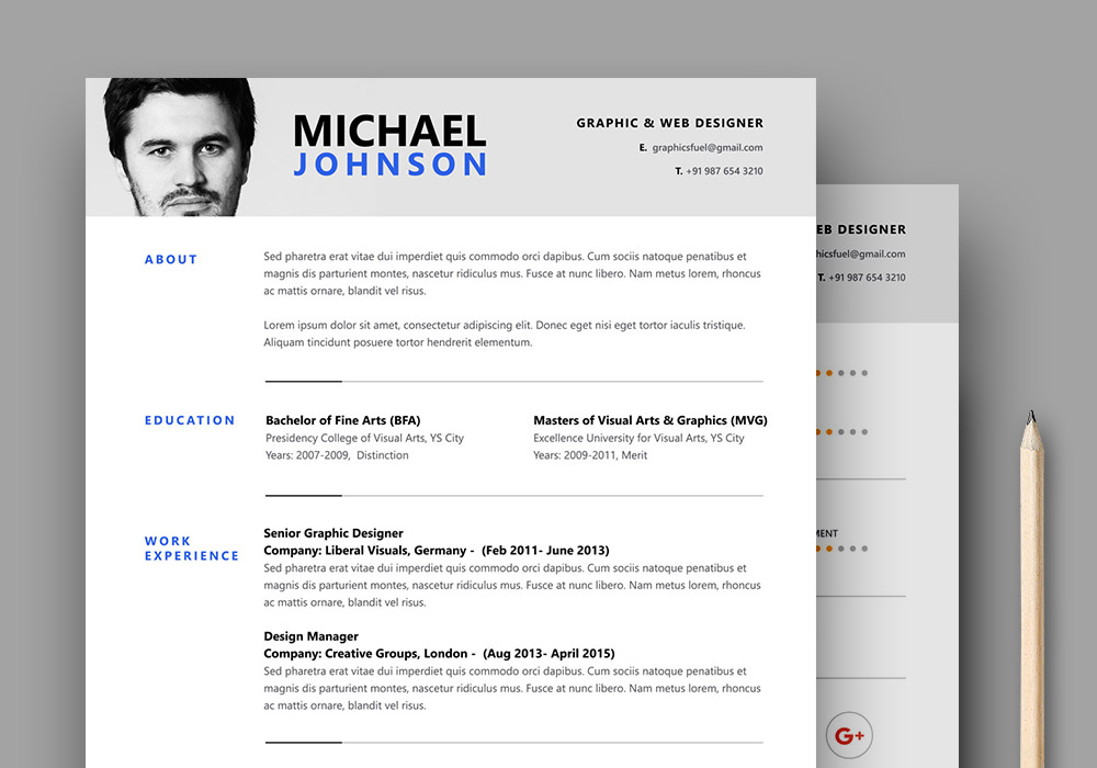 GraphicsFuel  Resume Template Psd