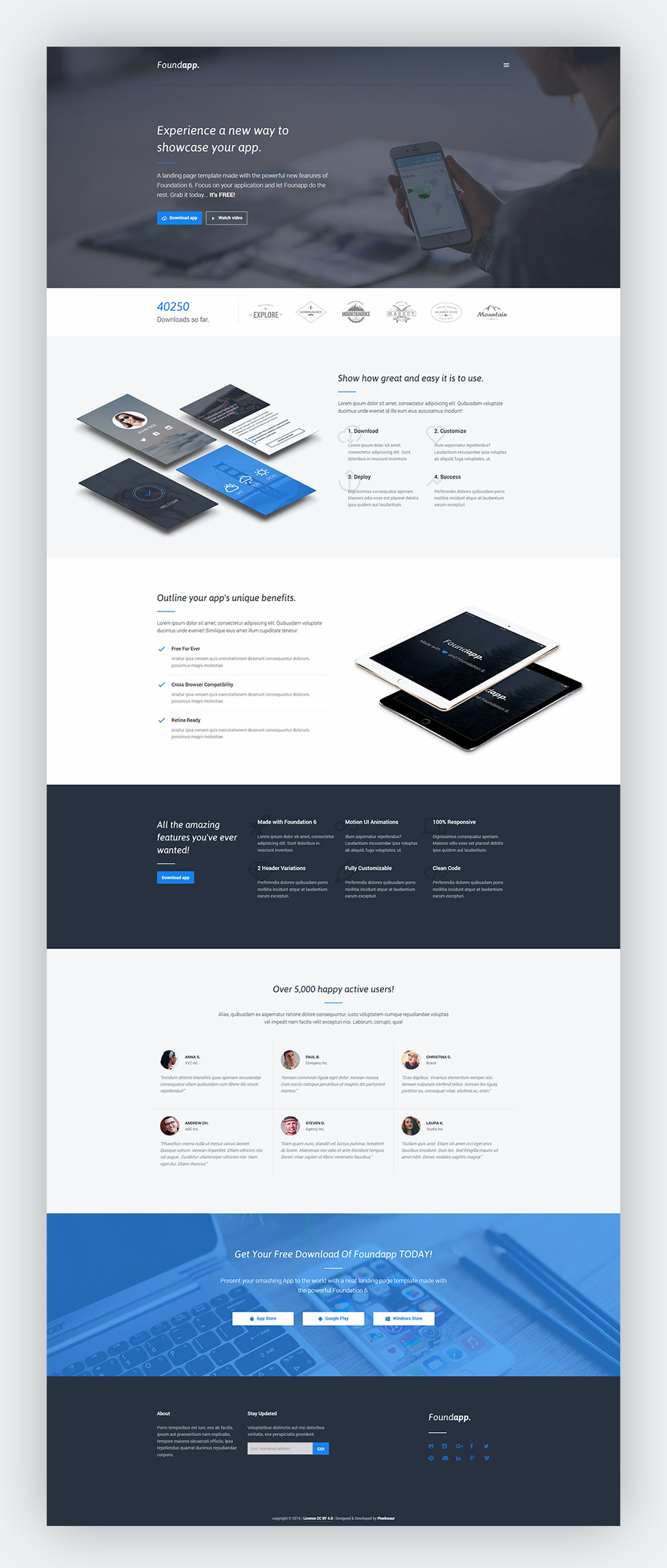 Free Mobile App Landing Page - GraphicsFuel