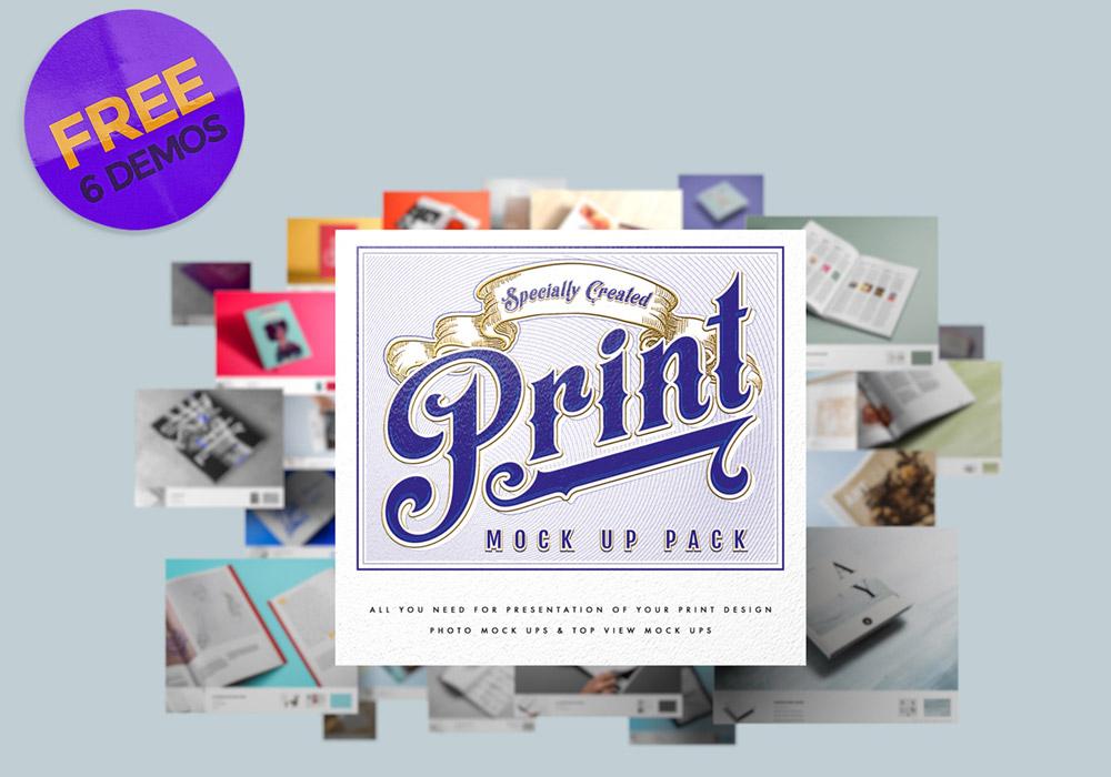 Free Demo Print Mockup Pack PSDs