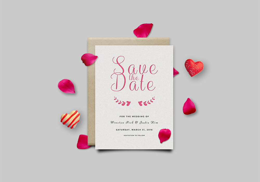 Save The Date Invitation Card Mockup PSD