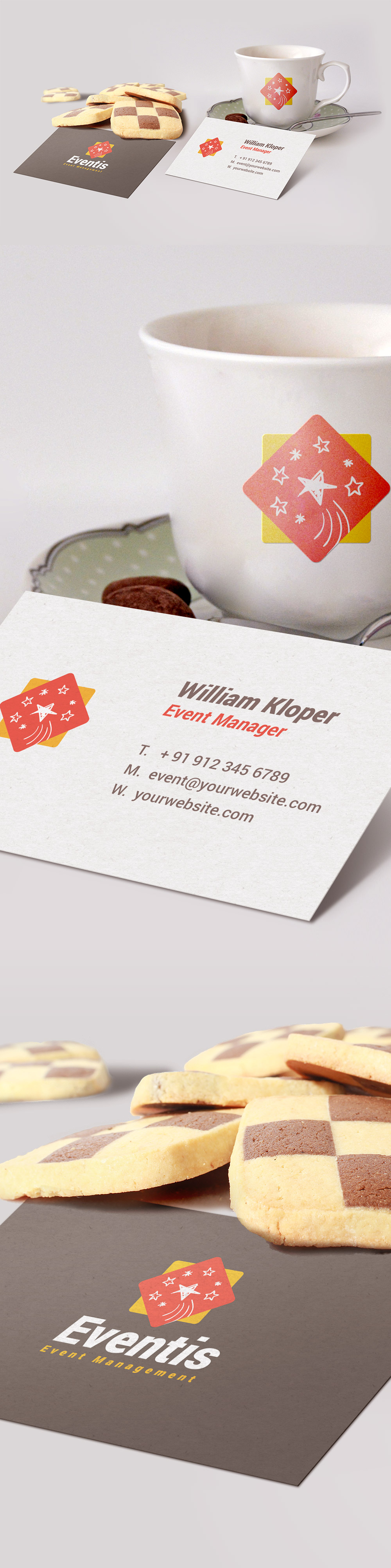 Business Card Coffee Cup Scene Mockup PSD