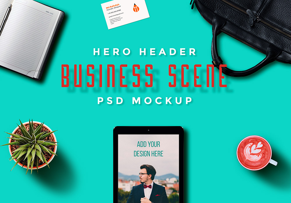 Hero Header Scene Mockup PSD Templates