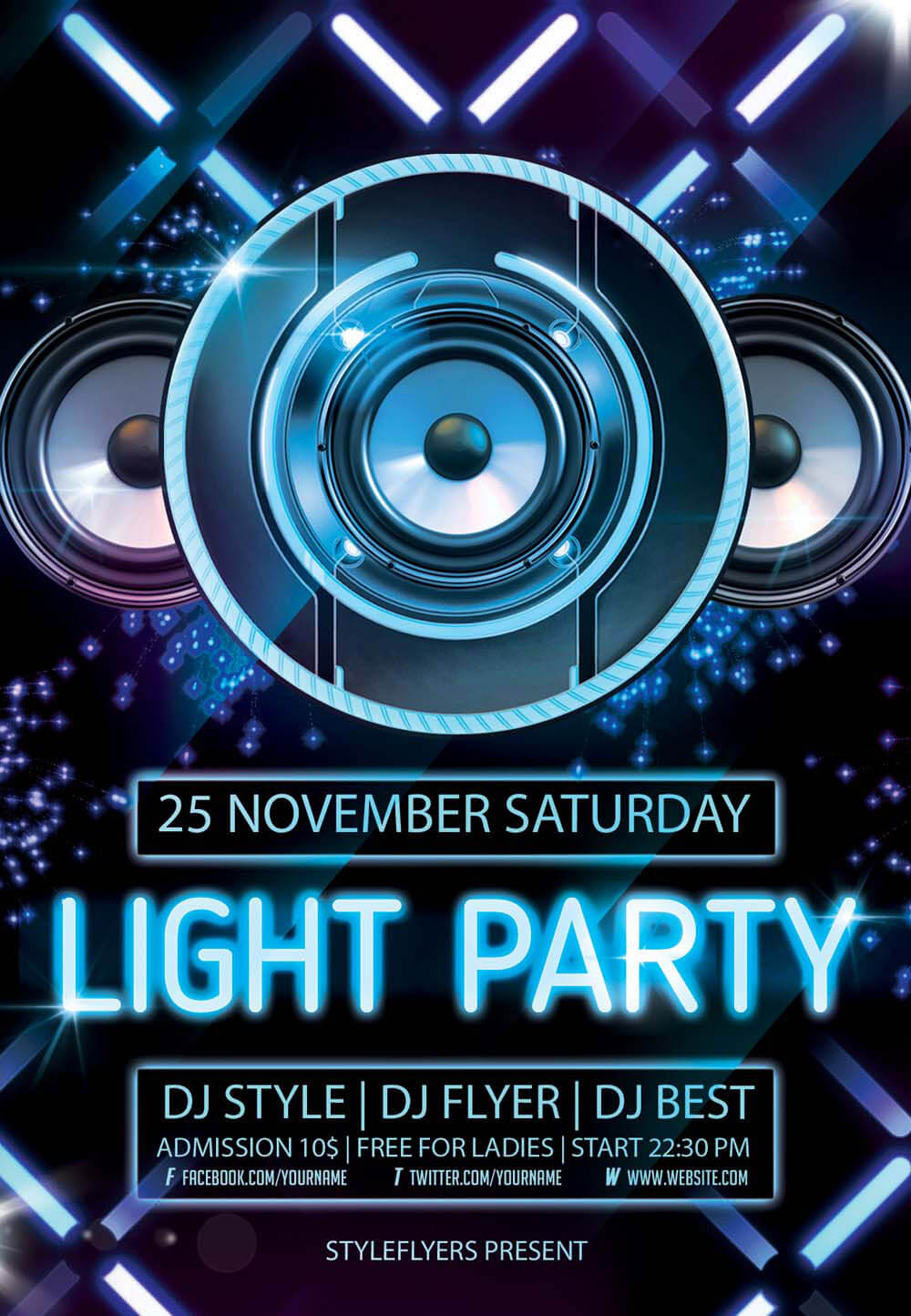 download flyer light party psd flyer template - Free Psd Flyer Templates