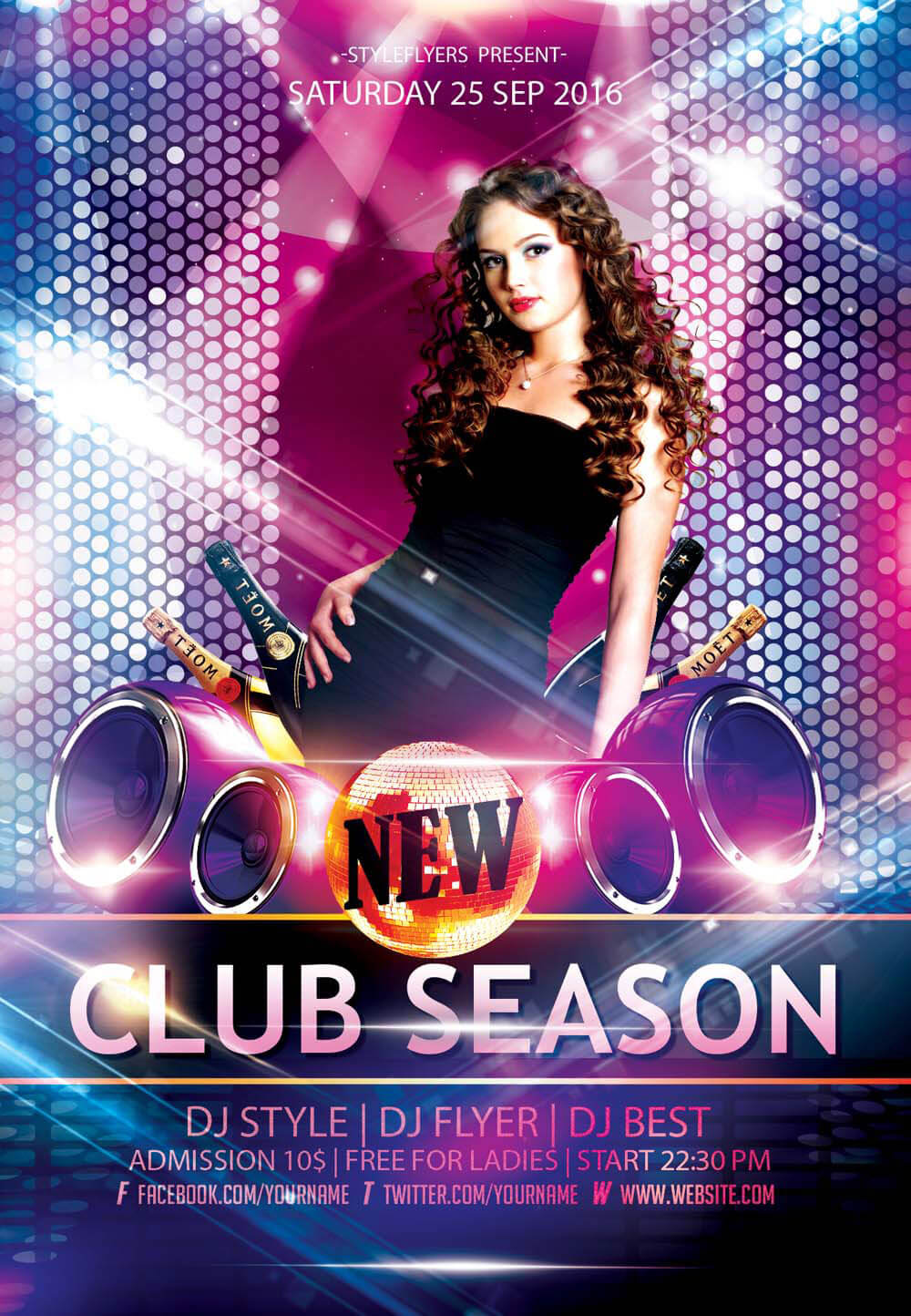 New party season free psd flyer templates graphicsfuel for Free club flyer templates