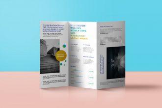 Tri-Fold Brochure Mockup PSD