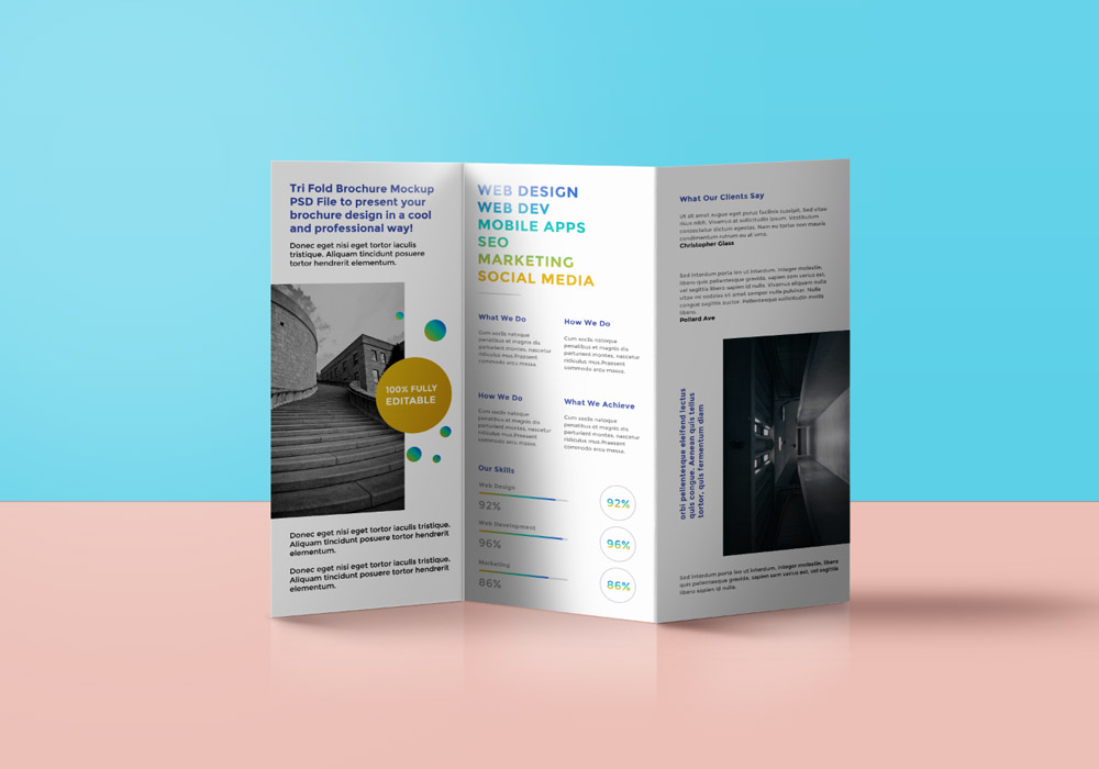 TriFold Brochure Mockup PSD GraphicsFuel - Tri fold brochure photoshop template