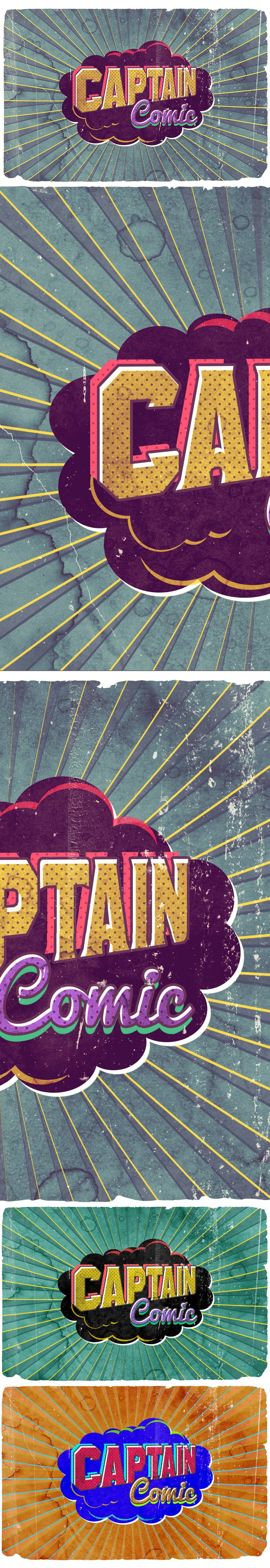 Vintage Poster Comic Text Effect PSD