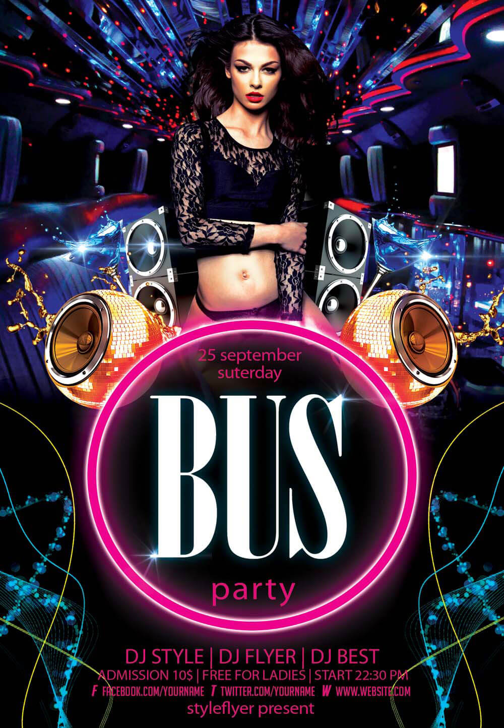 download flyer party bus psd flyer template - Free Psd Flyer Templates