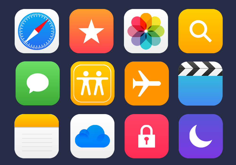 36 Apple Apps Vector Icons