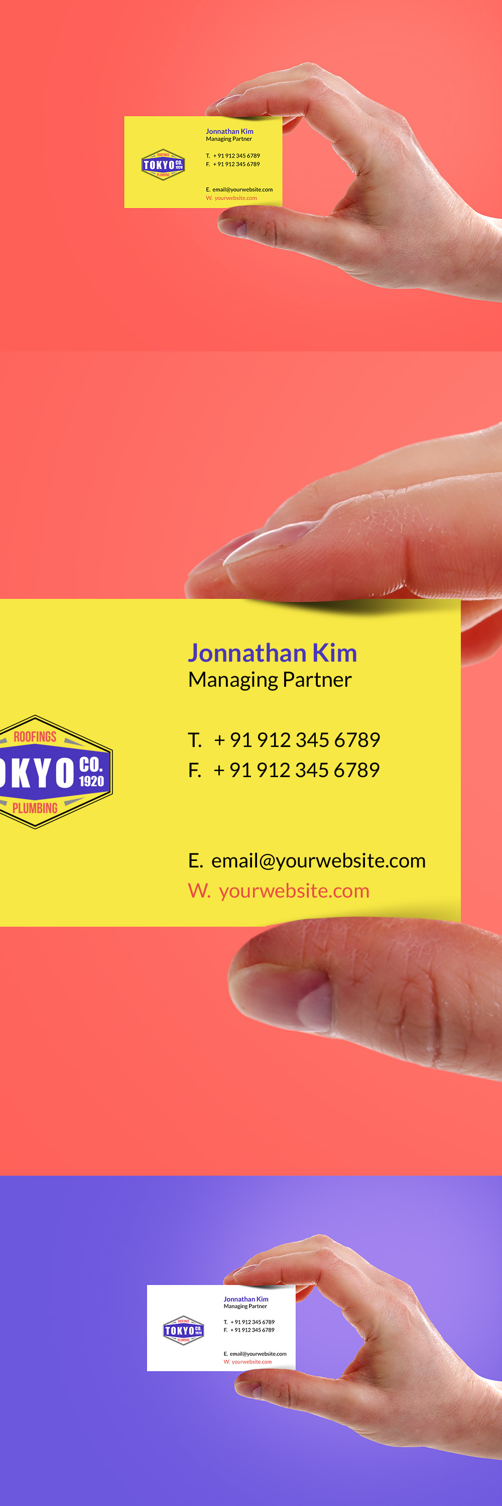 Hand Holding Business Card Template PSD